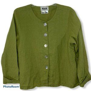 Flax 100% Linen Green Button up Lagenlook Size S